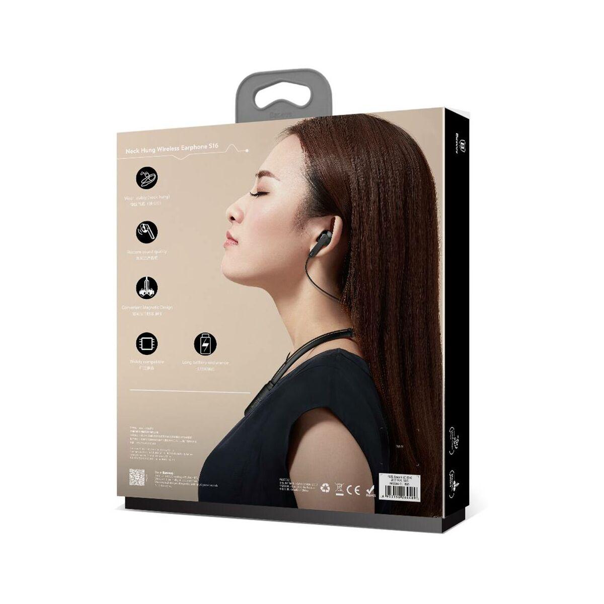 Baseus fülhallgató, Bluetooth Encok S16, nyakba akasztható, fekete (NGS16-01)
