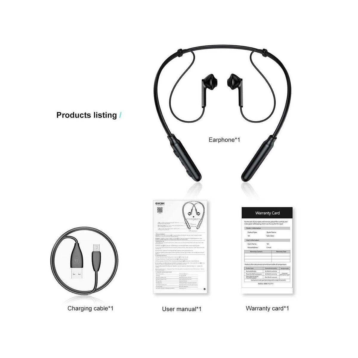 Baseus fülhallgató, Bluetooth Encok S16 nyakba akasztható, fekete (NGS16-01)