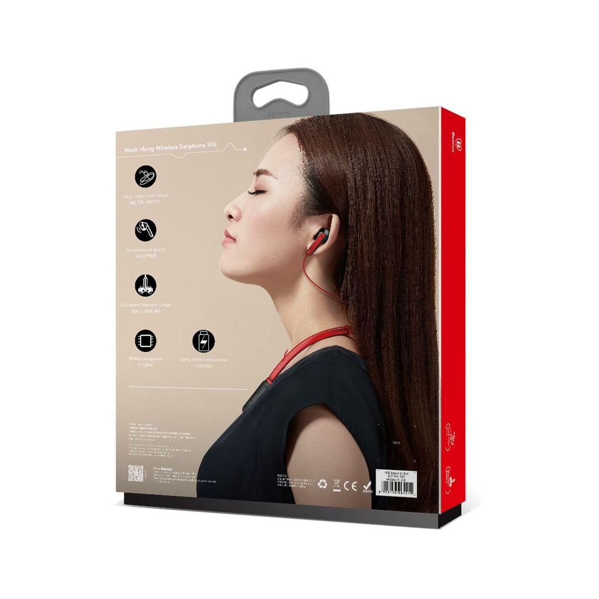 Baseus fülhallgató, Bluetooth Encok S16 nyakba akasztható, piros, (NGS16-09)