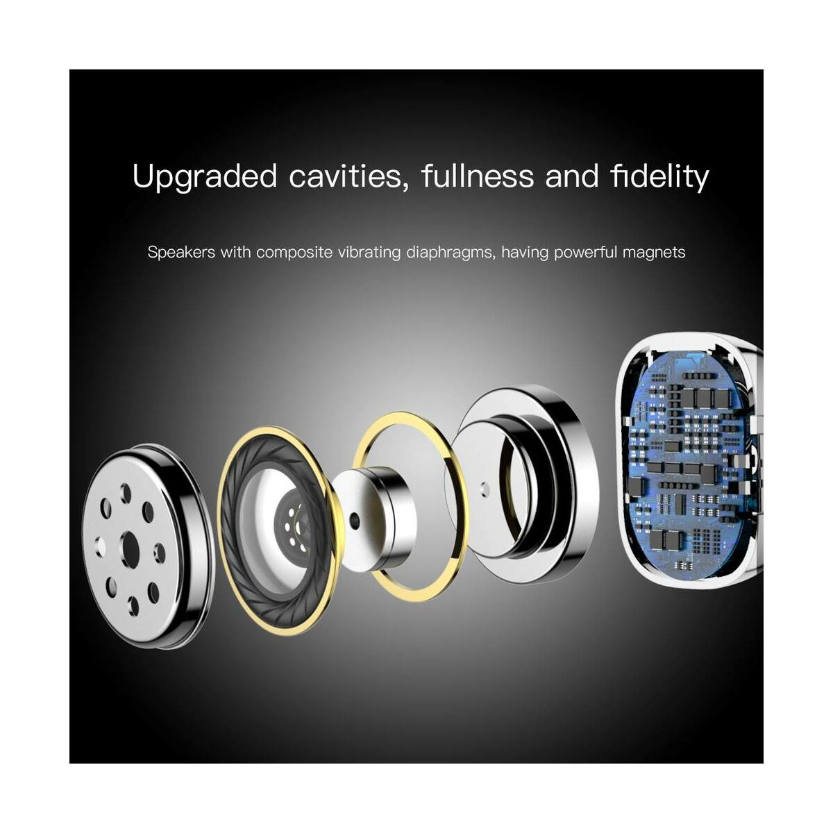Baseus fülhallgató, Bluetooth Encok W02 Truly Wireless Touch Control, Binaural, zajcsökkentés, HD hang, BT4.2, fehér (NGW02-02)