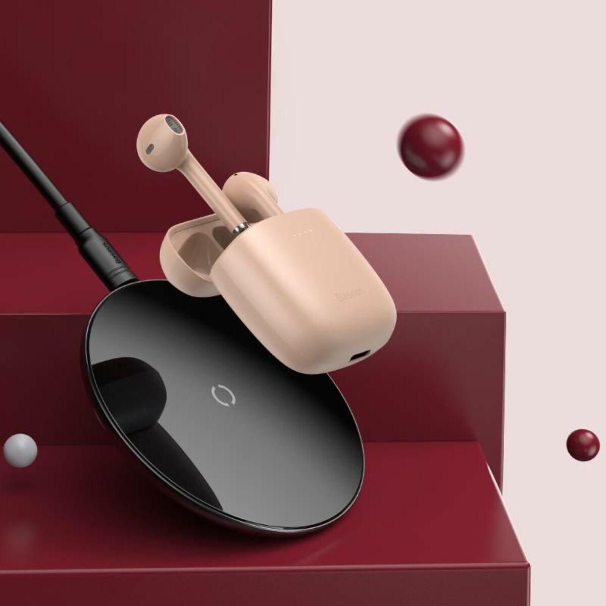 Baseus fülhallgató, Bluetooth Encok W04 PRO TWS Truly Wireless headset, rózsaszín (NGW04P-04)