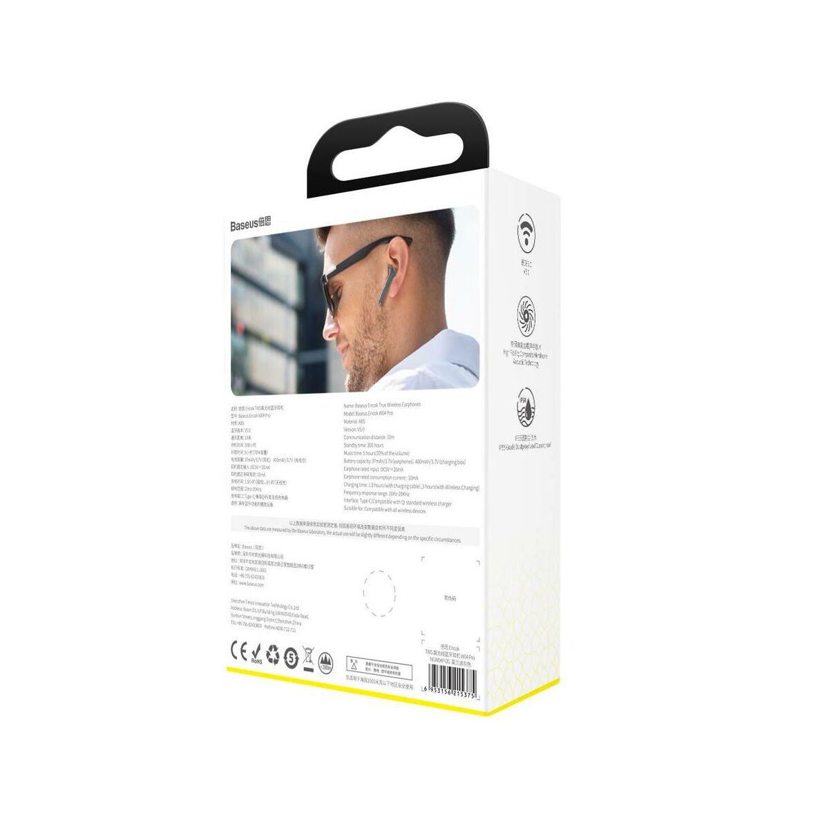 Baseus fülhallgató, Bluetooth Encok W04, PRO TWS Truly Wireless headset, szürke (NGW04P-0G)