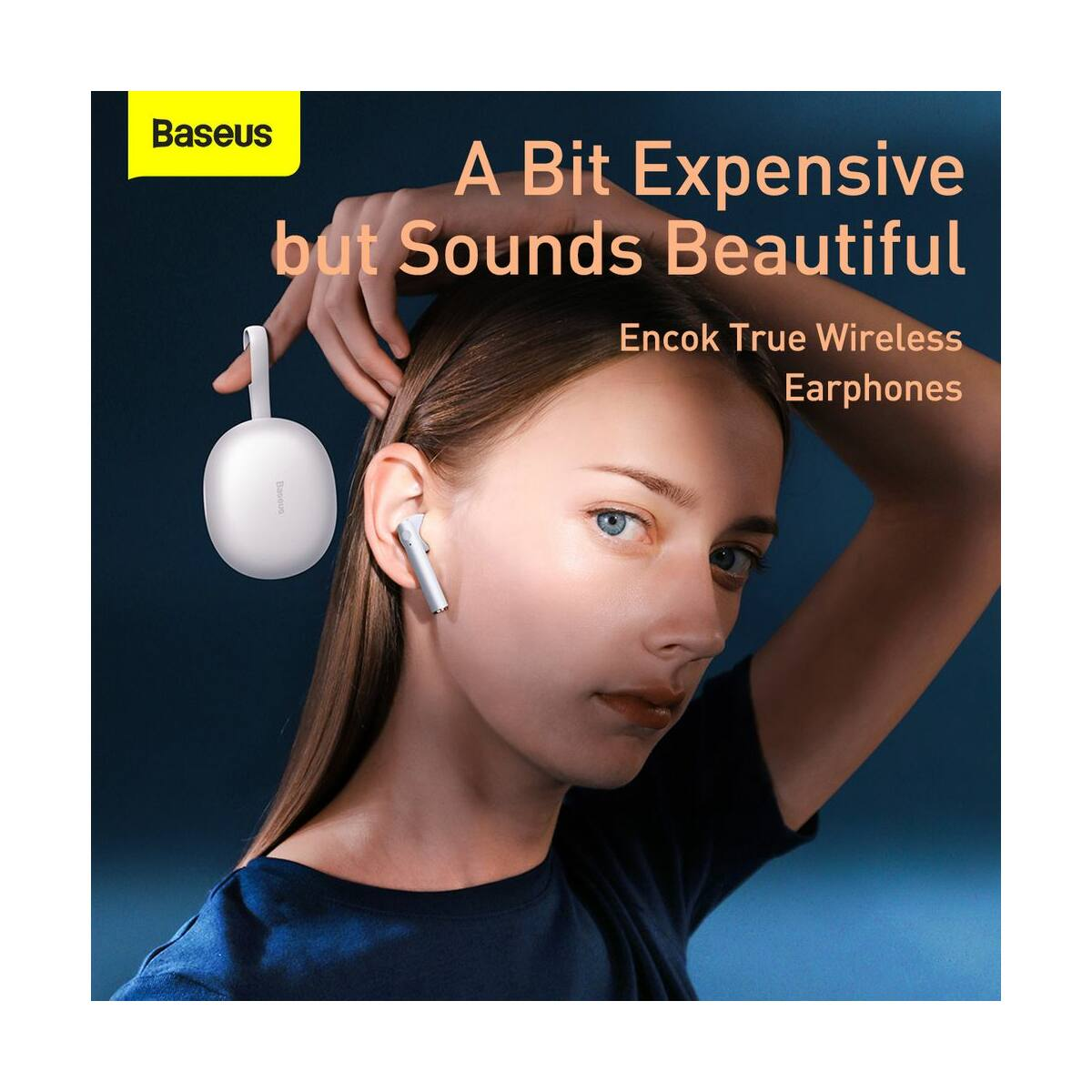 Baseus fülhallgató, Bluetooth Encok W05, True Wireless, vezeték nélküli, BT 5.0 TWS, 400 mAh töltőtokkal, fehér (NGW05-02)