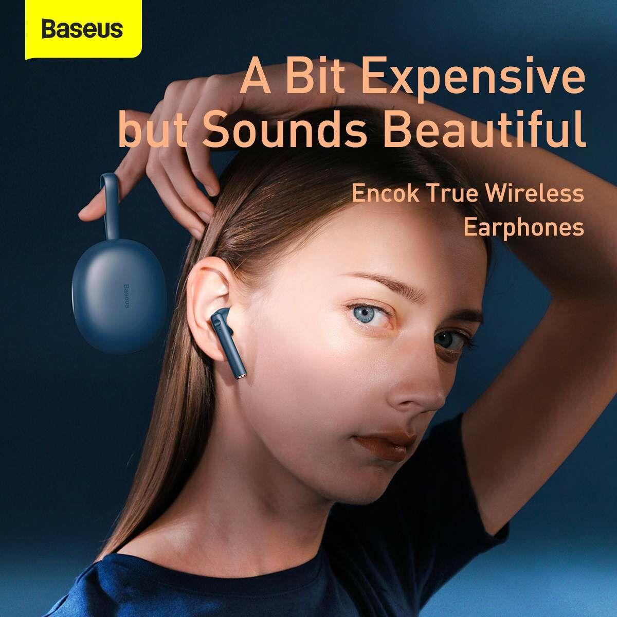 Baseus füllhallgató, Bluetooth Encok W05, True Wireless, vezeték nélküli, BT 5.0, 400 mAh töltőtokkal, kék (NGW05-03)