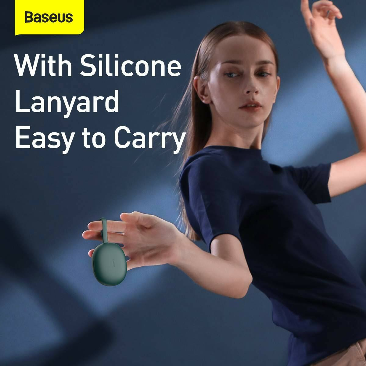 Baseus füllhallgató, Bluetooth Encok W05, True Wireless, vezeték nélküli, BT 5.0, 400 mAh töltőtokkal, zöld (NGW05-06)