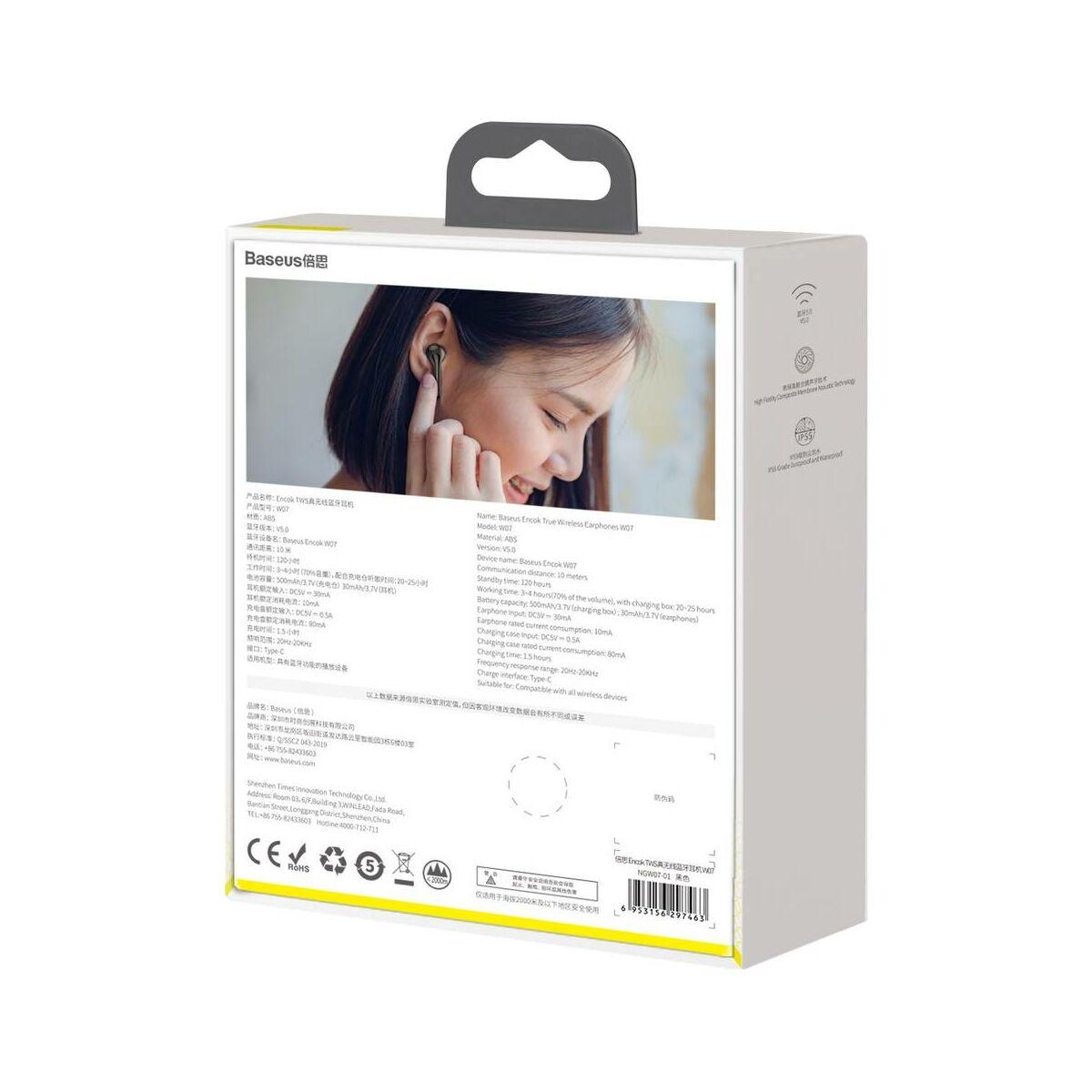 Baseus fülhallgató, Bluetooth Encok W07, True Wireless, vezeték nélküli, dual mikrofon BT 5.0 TWS, fekete (NGW07-01)