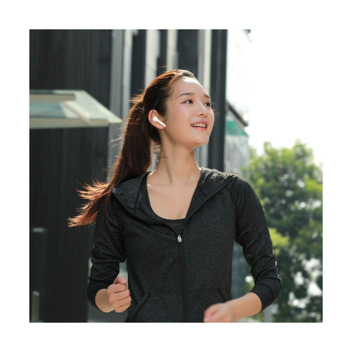 Baseus fülhallgató, Bluetooth Encok W07 True Wireless, vezeték nélküli, dual mikrofon BT 5.0 TWS fehér (NGW07-02)