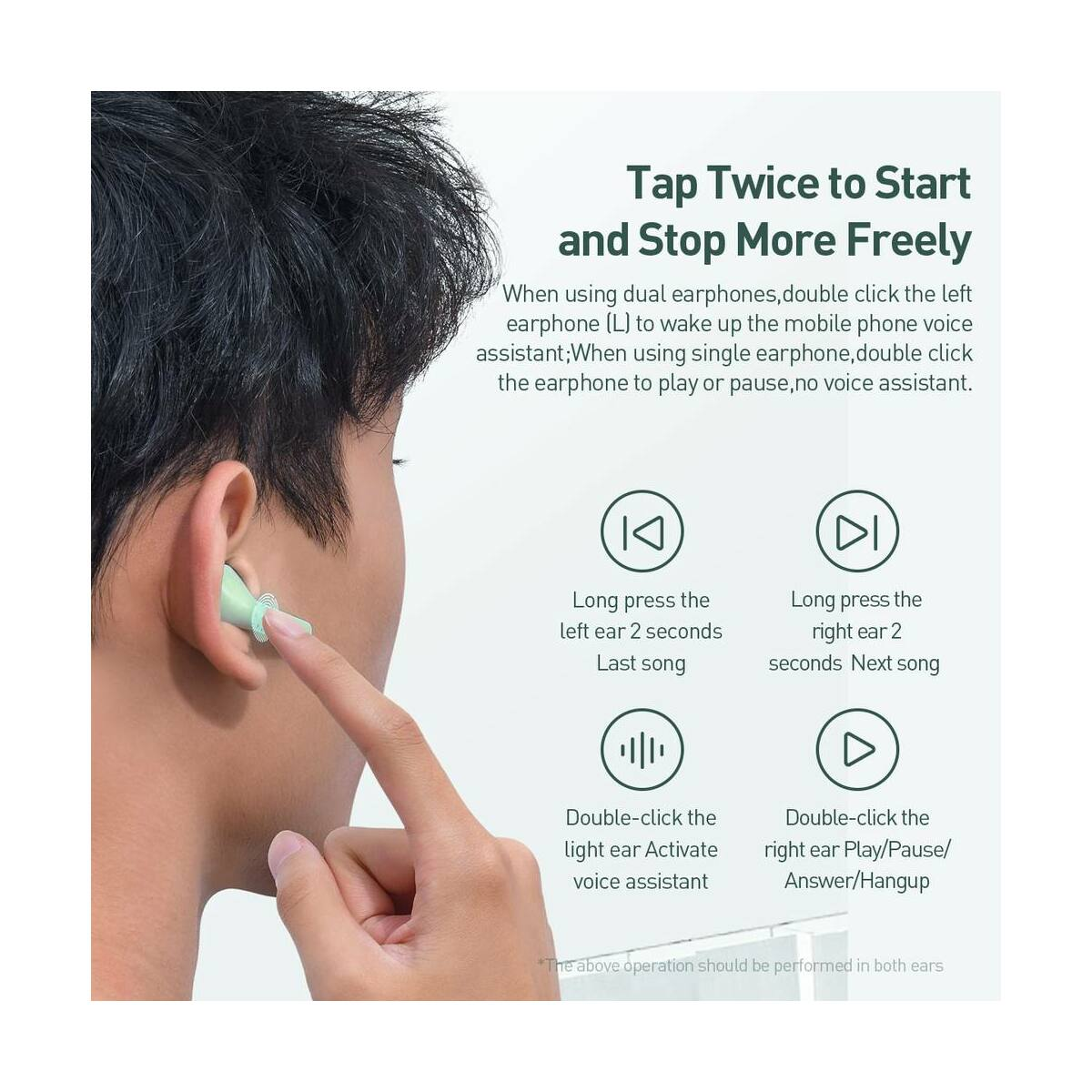 Baseus fülhallgató, Bluetooth Encok W09 True Wireless, vezeték nélküli, piros (NGW09-09)