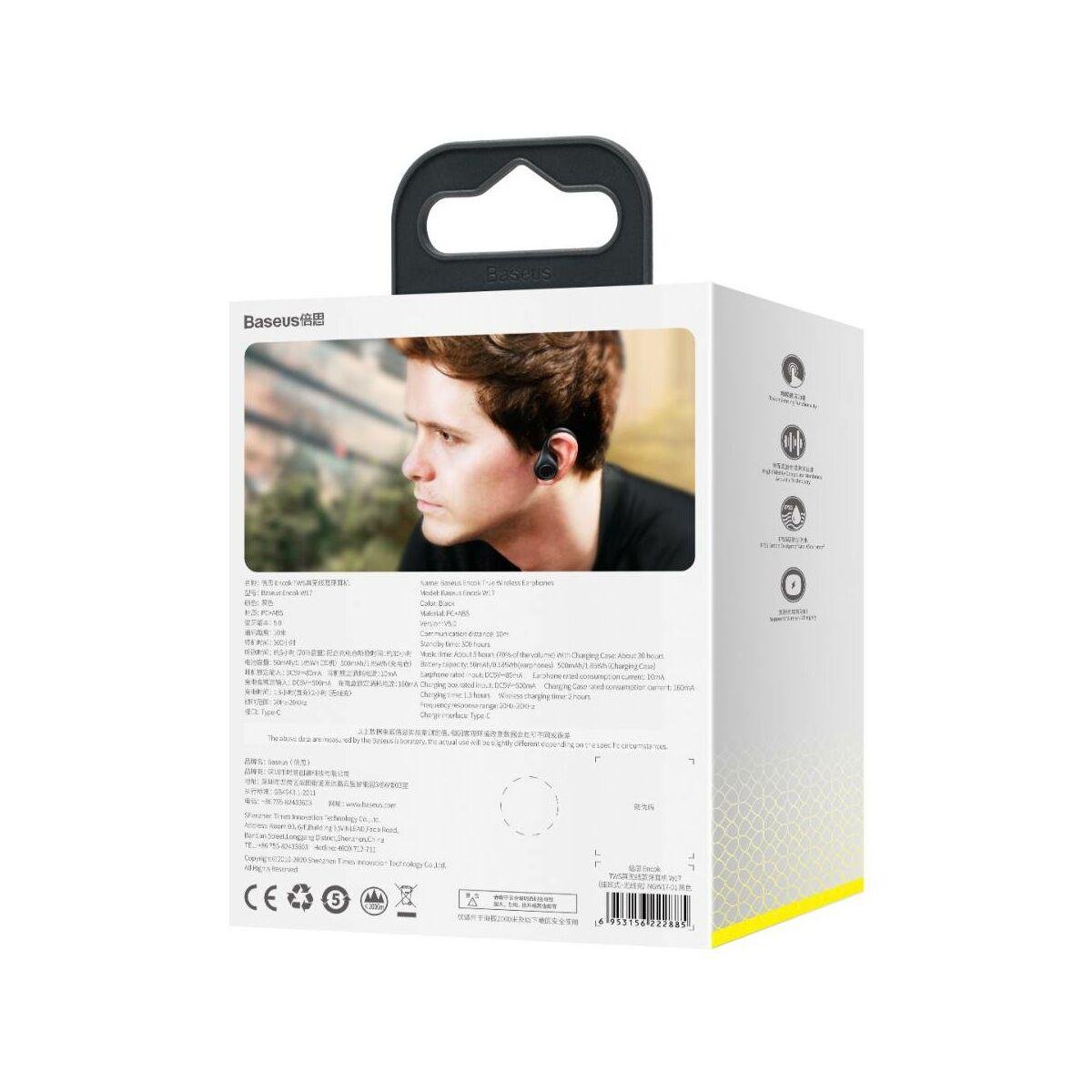 Baseus fülhallgató, Bluetooth Encok W17 True Wireless, vezeték nélküli, BT 5.0 TWS, 20-20kHz tartomány, akár 30 óra zene, fekete (NGW17-01)
