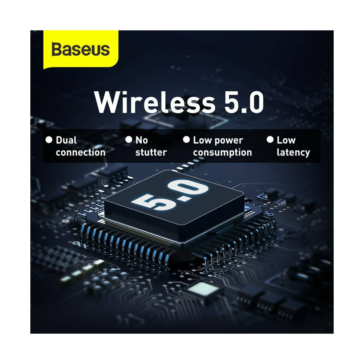 Baseus fülhallgató, Bluetooth Encok WM01 True Wireless, vezeték nélküli, BT 5.0, fekete (NGWM01-01)