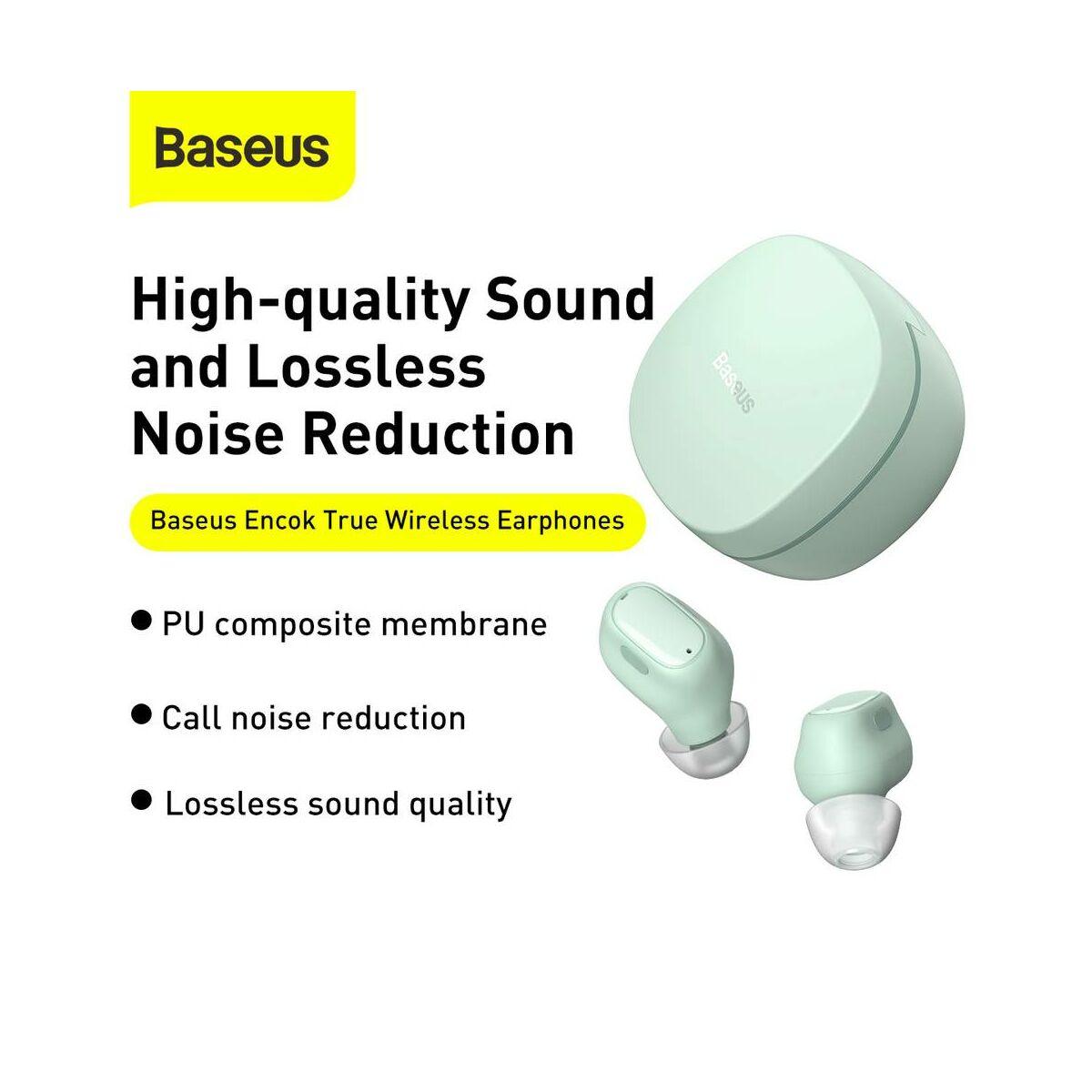Baseus fülhallgató, Bluetooth Encok WM01 True Wireless, vezeték nélküli, BT 5.0, zöld (NGWM01-06)