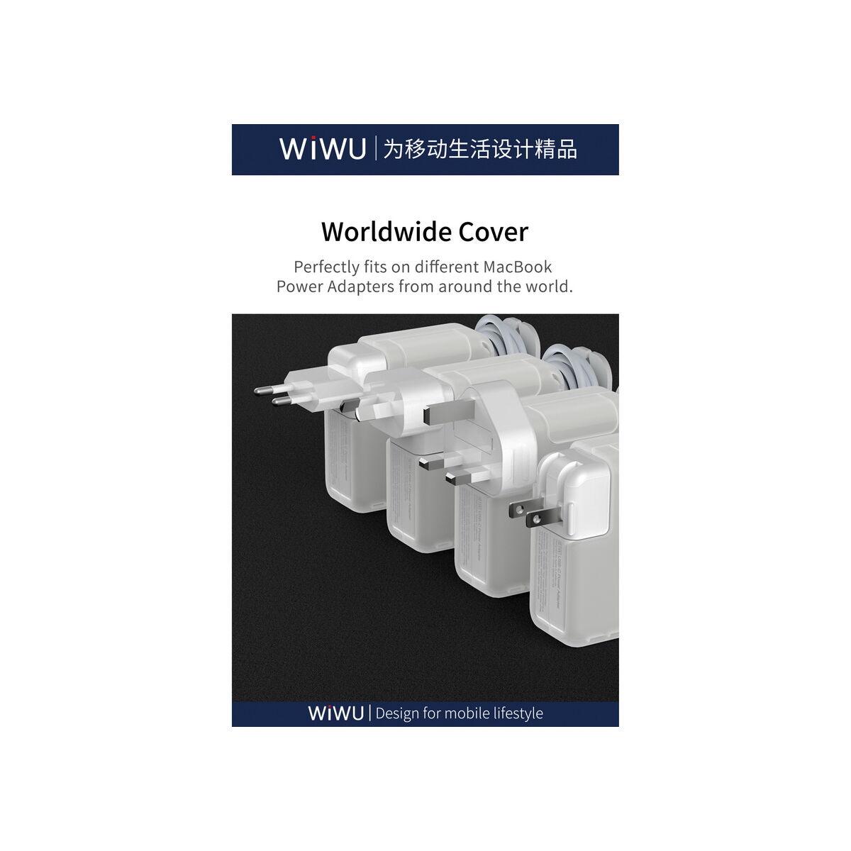 WiWU MacBook laptop töltő tok, kábelvédő és zsinortekercselő kiegészítővel, 87W, fehér