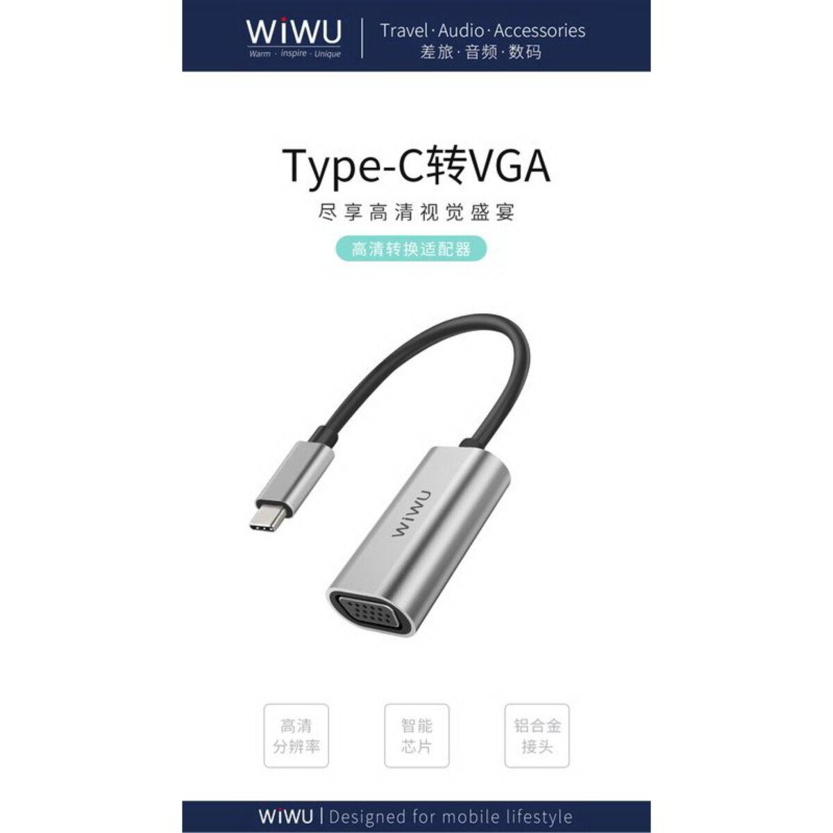 WiWU átalakító, Alpha Type-C - VGA adapter, 60 Hz frissitési frekvenciás monitorhoz, szürke