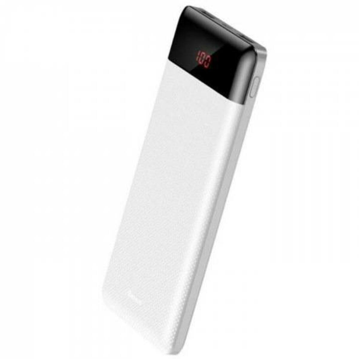Baseus Power Bank Mini Cu, digitális kijelző (Micro USB bemenet / dupla USB kimenet), 2.1A, 10.000 mAh, fehér (PPALL-AKU02)