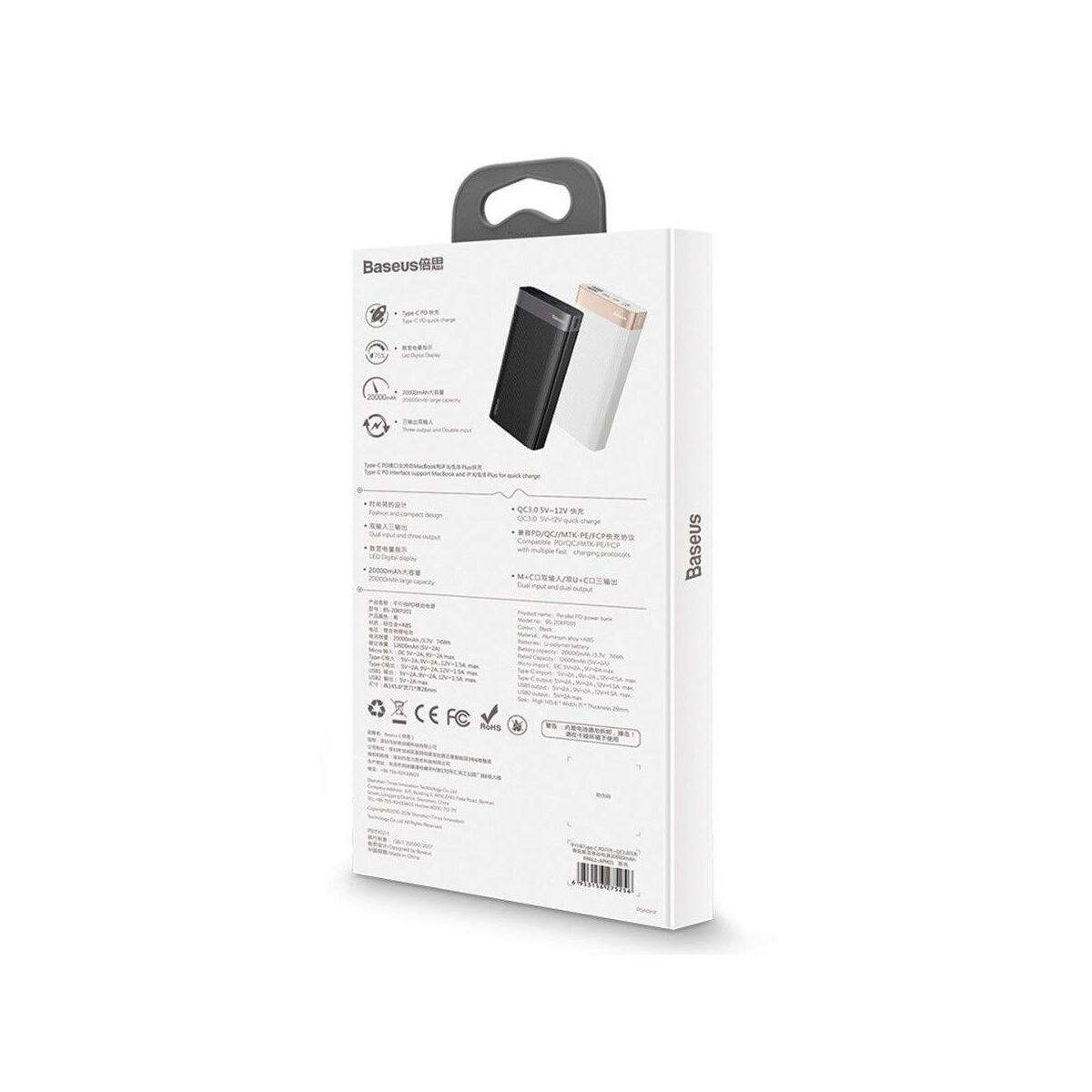 Baseus Power Bank Parallel (Micro USB + Type-C bemenet / dupla USB + Type-C PD kimenet), 18W, 5A, 20.000 mAh, fekete (PPALL-APX01)