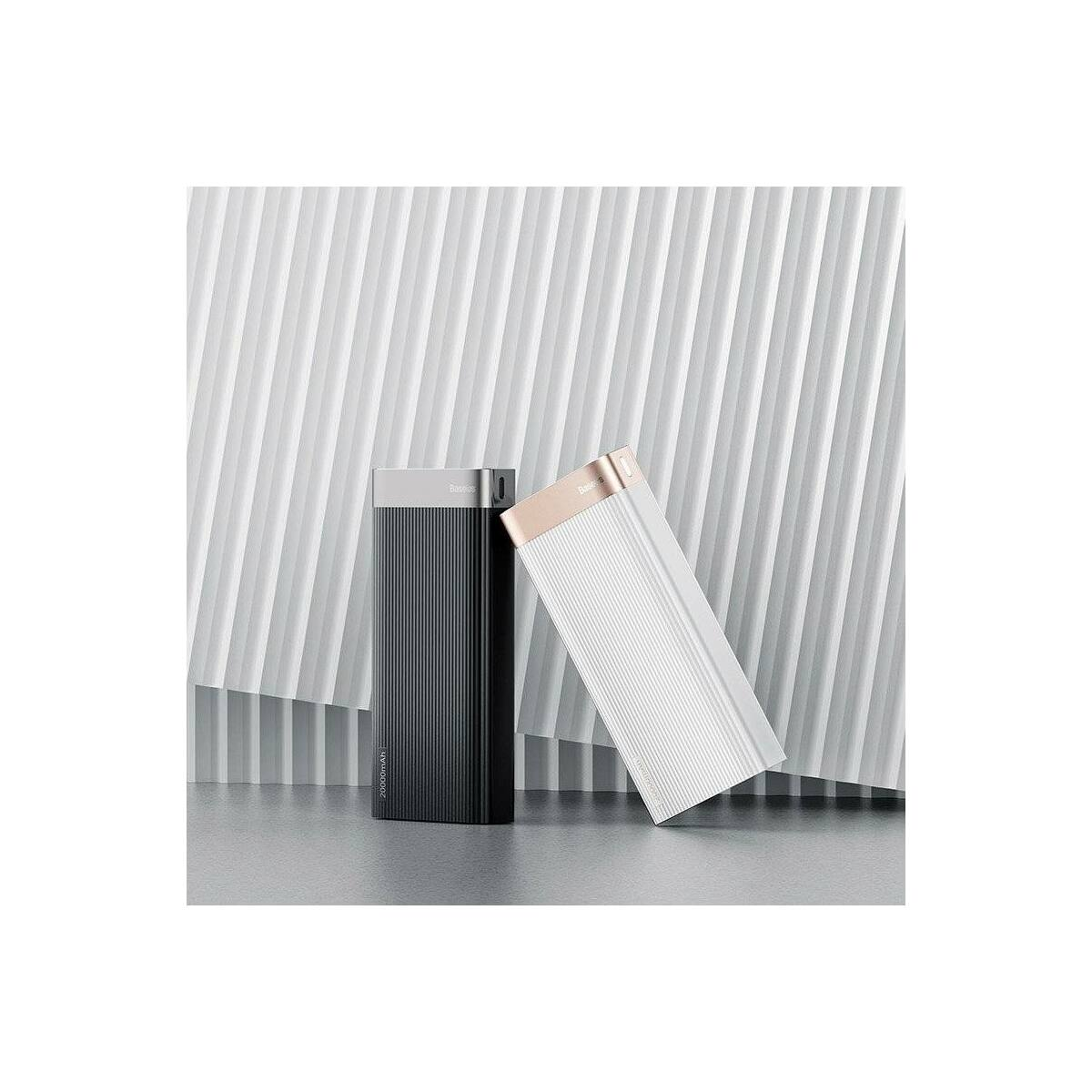 Baseus Power Bank Parallel (Micro USB + Type-C bemenet / dupla USB + Type-C PD kimenet), 18W, 5A, 20.000 mAh, fehér (PPALL-APX02)