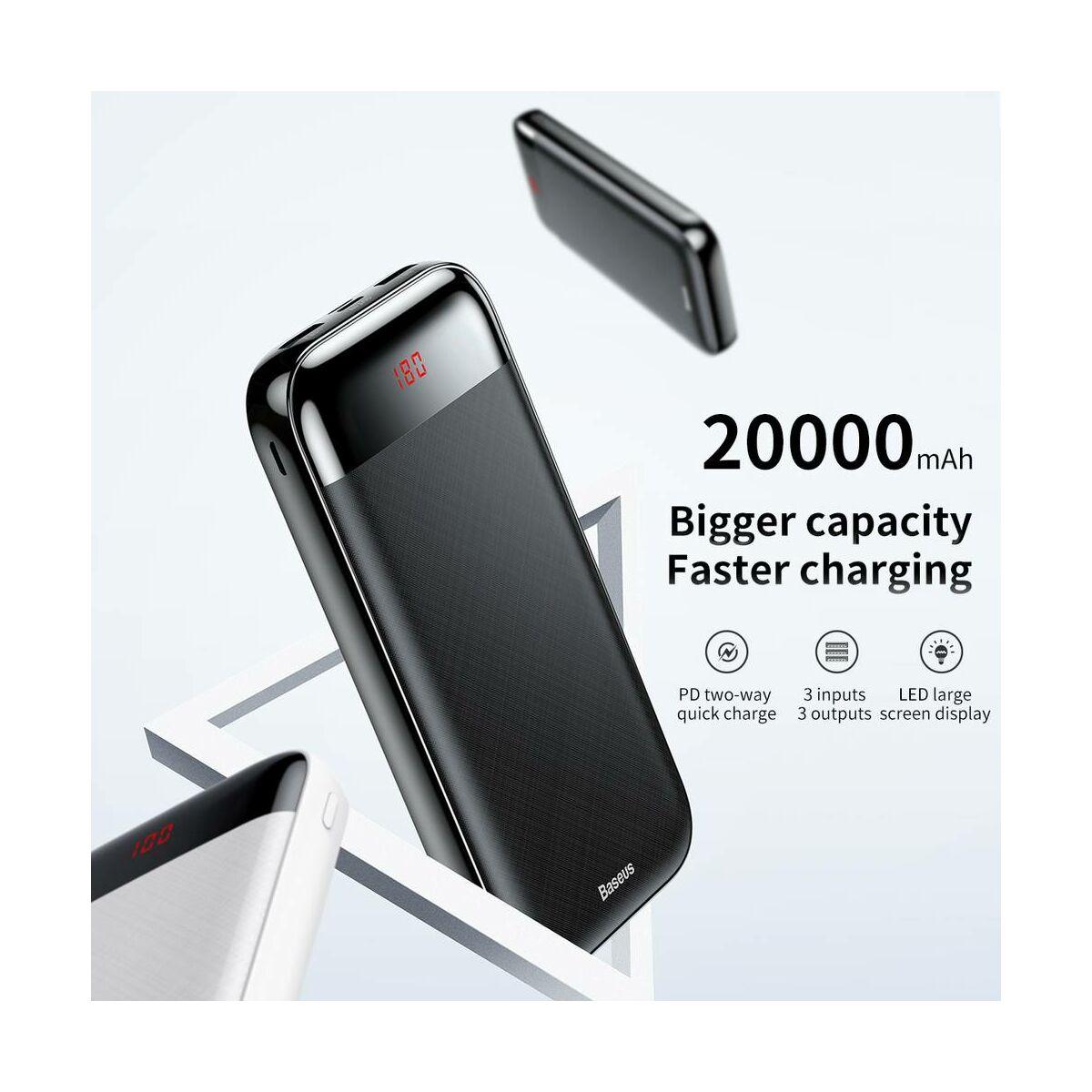 Baseus Power Bank Mini Cu, digitális kijelző (Micro USB bemenet / dupla USB kimenet), 3A, 20.000 mAh, fekete (PPALL-CKU01)
