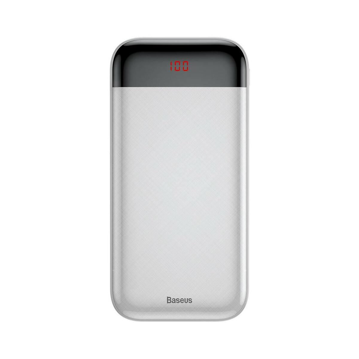 Baseus Power Bank Mini Cu, digitális kijelző (Micro USB bemenet / dupla USB kimenet), 3A, 20.000 mAh, fehér (PPALL-CKU02)