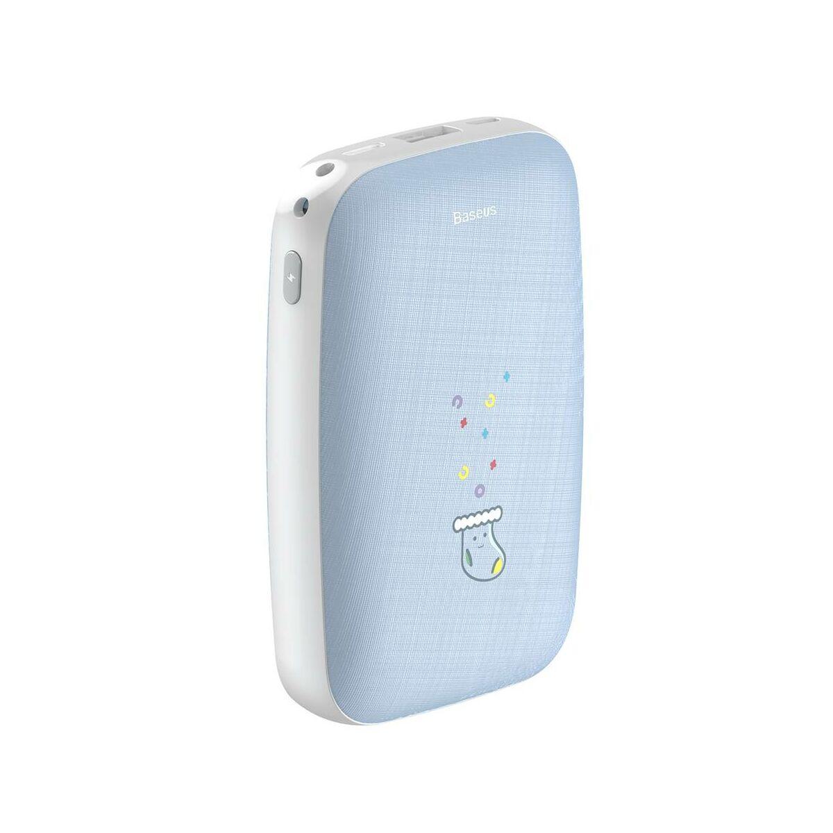 Baseus Power Bank Mini Q, kézmelegítő funkcióval (Micro USB + Type-C bemenet / USB kimenet), 2.1A, 10.000 mAh, kék (PPALL-CXQ03)