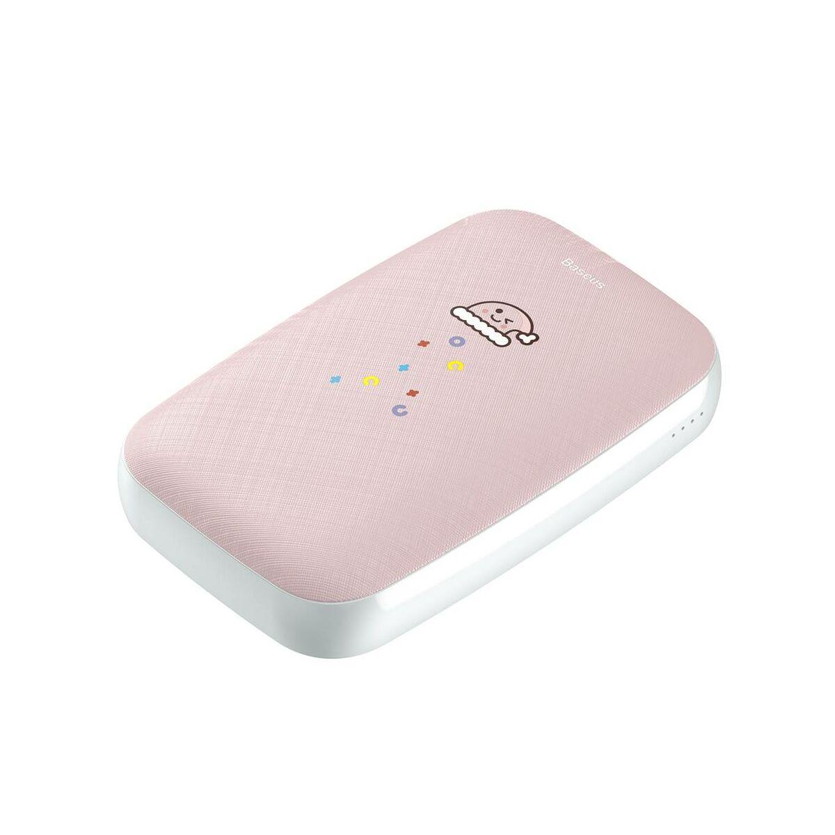 Baseus Power Bank Mini Q, kézmelegítő funkcióval (Micro USB + Type-C bemenet / USB kimenet), 2.1A, 10.000 mAh, rózsaszín (PPALL-CXQ04)