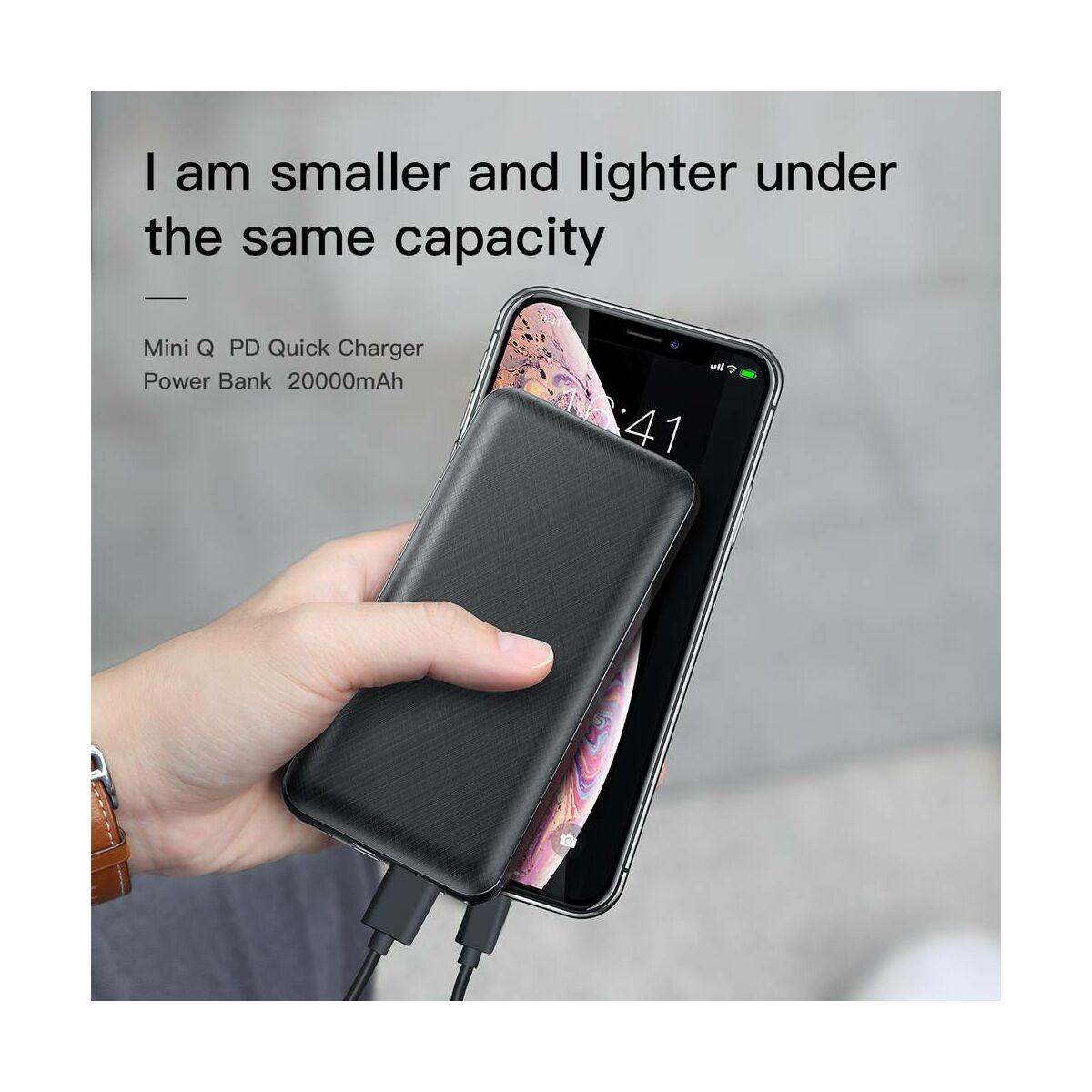 Baseus Power Bank Mini Q, PD gyors töltés, (Micro USB + Type-C + Lightning bem. / USB + Type-C PD kim.), 3A, 20.000 mAh, fekete (PPALL-DXQ01