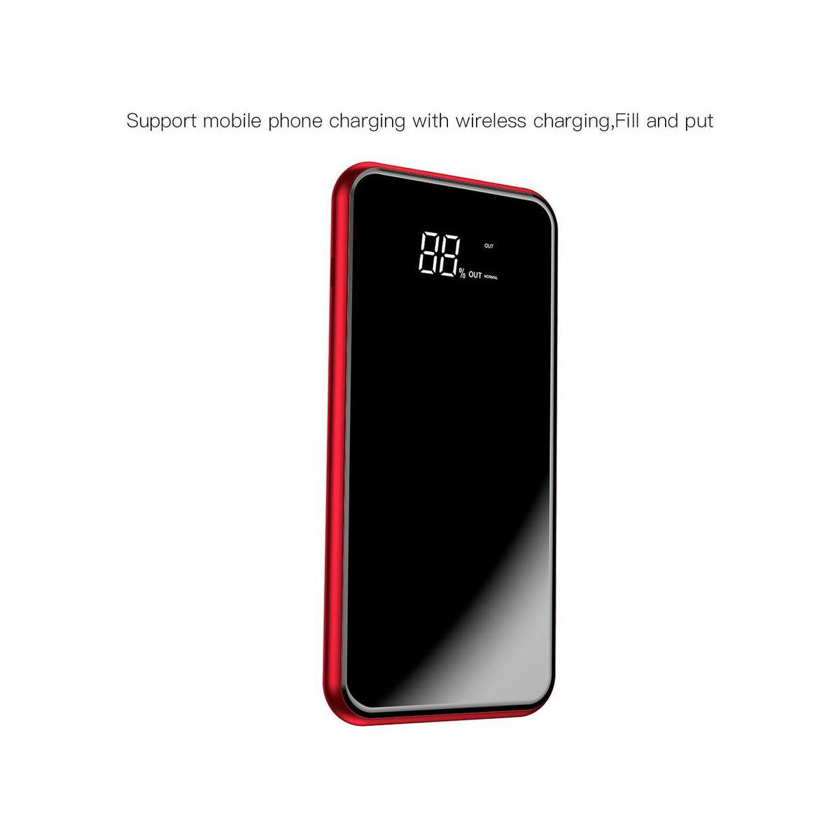 Baseus Power Bank vezeték nélküli töltés Full screen (Micro USB bemenet / dupla USB kimenet), 2A, 8.000 mAh, piros (PPALL-EX09)