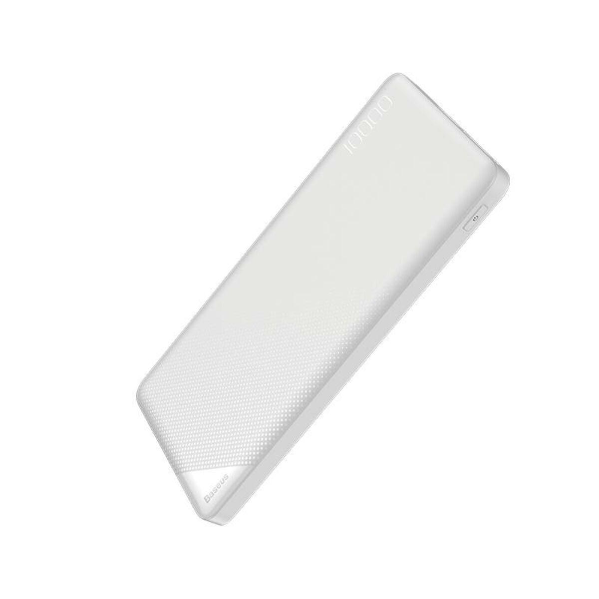 Baseus Power Bank Mini Cu, (Micro USB bemenet / dupla USB kimenet), 2.1A, 10.000 mAh, fehér (PPALL-KU02)