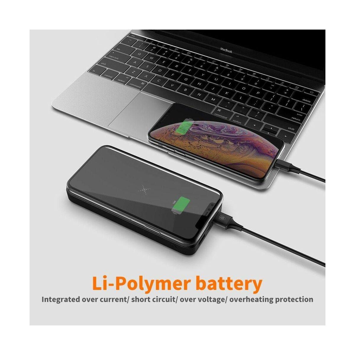 Baseus Power Bank M36, vezeték nélküli töltés (Micro USB bemenet / dupla USB kimenet), 10.000 mAh, fekete (PPALL-M3601)