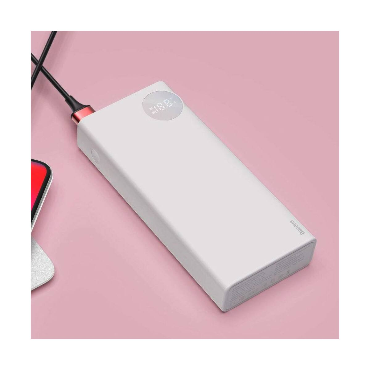 Baseus Power Bank Mulight, PD gyors töltés (Micro USB + Type-C + Lightning bem. / 2xUSB + Type-C PD kim.), 3A, 20.000 mAh, fehér (PPALL-MY02