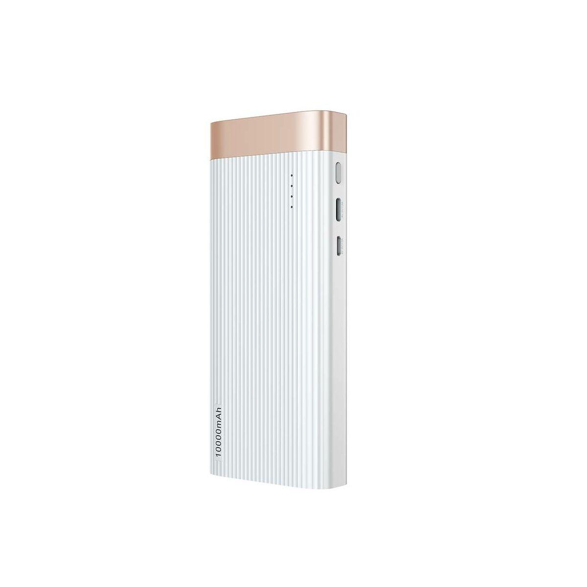 Baseus Power Bank Parallel Line (Micro USB + Type-C bemenet / USB kimenet), 2.1A, 10.000 mAh, fehér (PPALL-PX02)