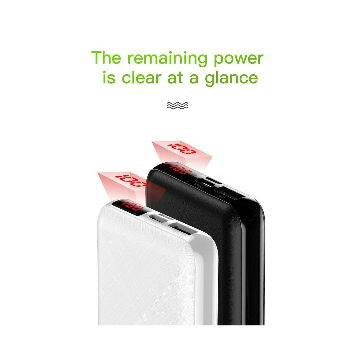 Baseus Power Bank Mini S, digitális kijelző (Type-C + Lightning bemenet / USB + Type-C PD kimenet), 3A, 10.000 mAh, fekete (PPALL-XF01)