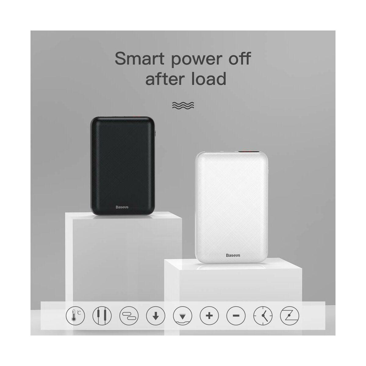 Baseus Power Bank Mini S, digitális kijelző (Type-C + Lightning bemenet / USB + Type-C PD kimenet), 3A, 10.000 mAh, fehér (PPALL-XF02)