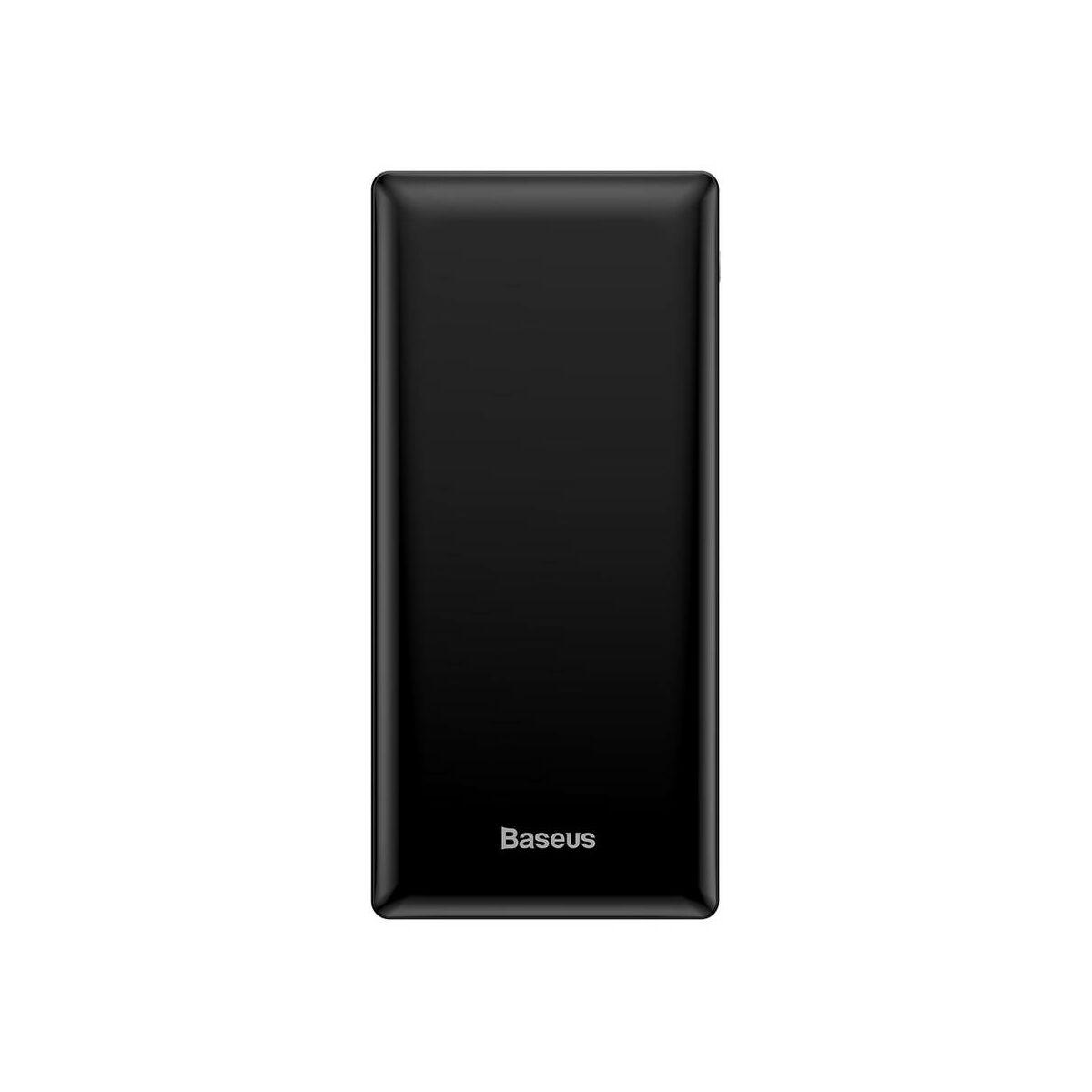 Baseus Power Bank Mini JA, gyors töltés, (Micro USB + Type-C + Lightning bem. / 2xUSB + Type-C PD kim.), 3A, 30.000 mAh, fekete (PPJAN-C01)