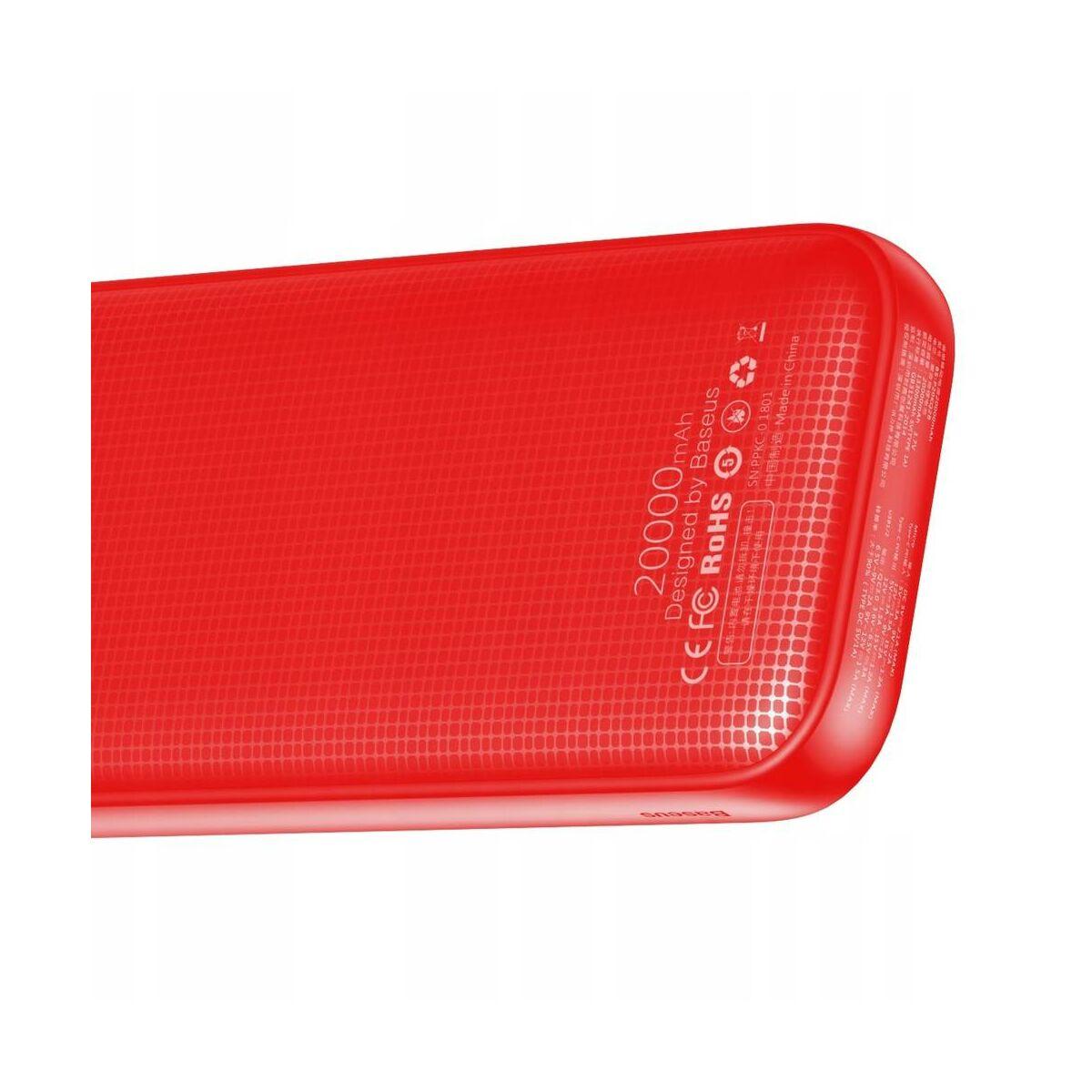 Baseus Power Bank Powerful (Micro USB + Type-C bemenet / dupla USB + Type-C PD kimenet), 2.4A, 20.000 mAh, piros (PPKC-A09)