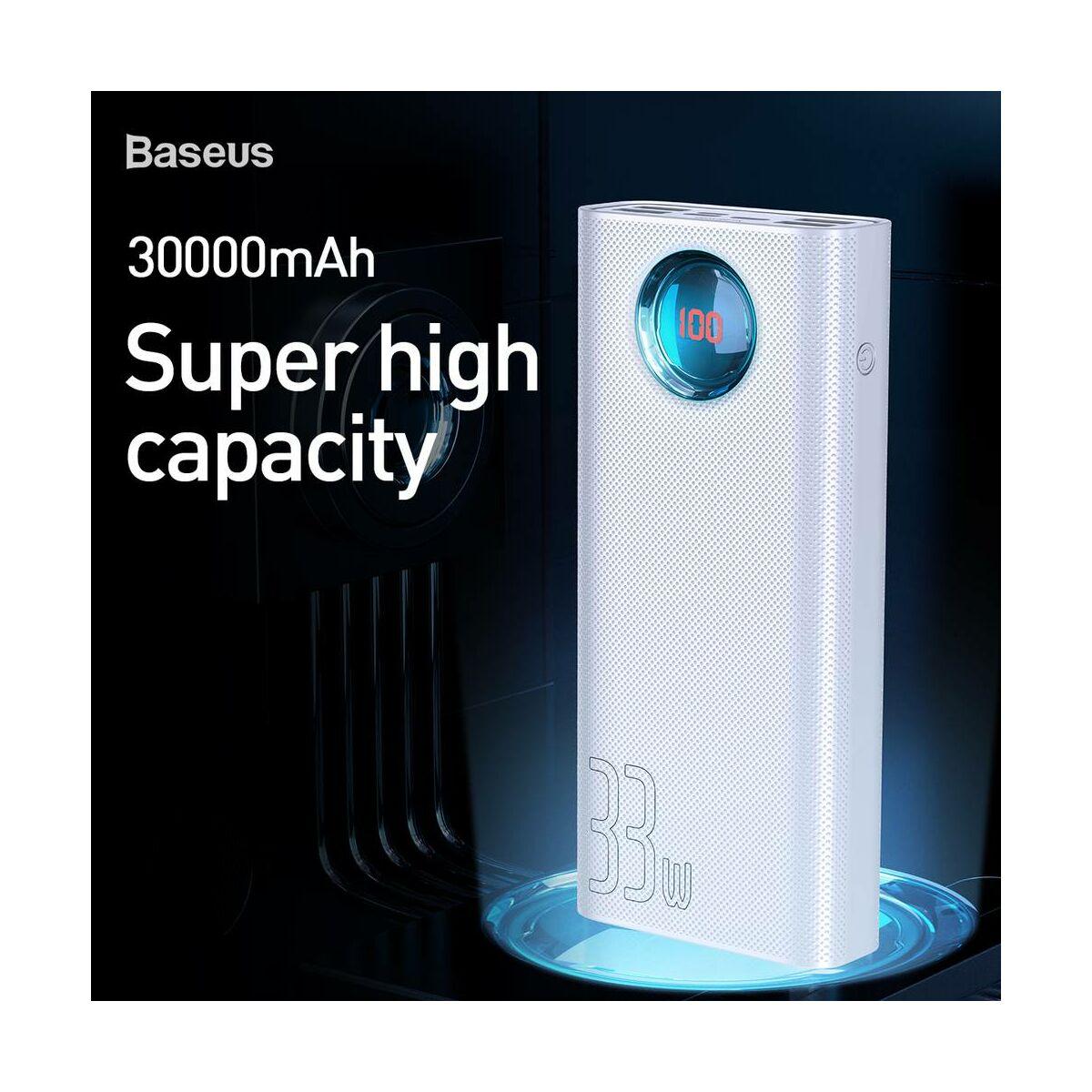 Baseus Power Bank, Digitális kijelzős Amblight QC, 33W, (PD3.0+QC3.0) 30.000 mAh, fehér (PPLG-02)