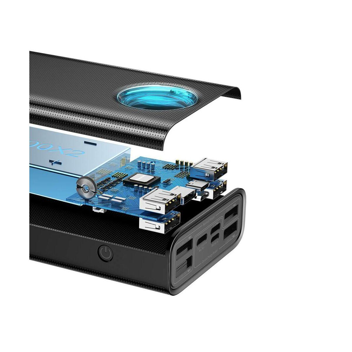 Baseus Power Bank Ambilight digitális kijelzővel 100W C+C 1m kábel, 65W, 30.000 mAh, fekete (PPLG-A01)