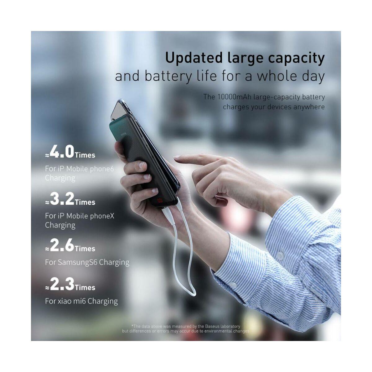 Baseus Power Bank Gentleman, Digital Display, 2xUSB, 10.000 mAh, fekete (PPLN-A01)