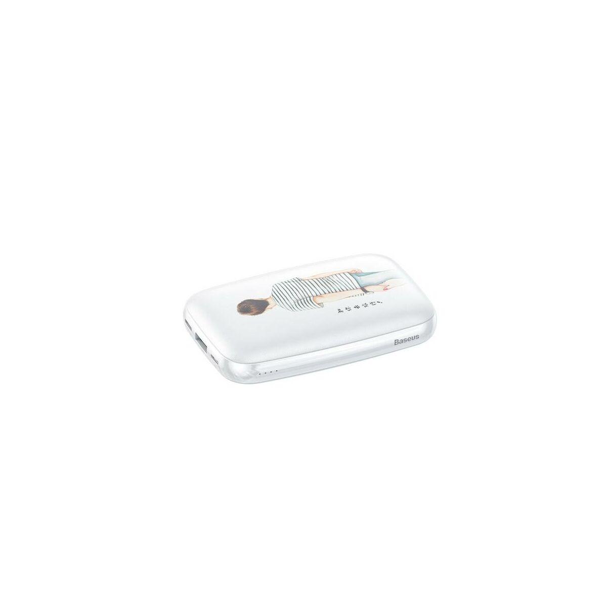 Baseus Power Bank Mini Q, (Micro USB + Type-C bemenet / USB kimenet), 2.1A,10.000 mAh fiús, fehér (PPM25-NH02)