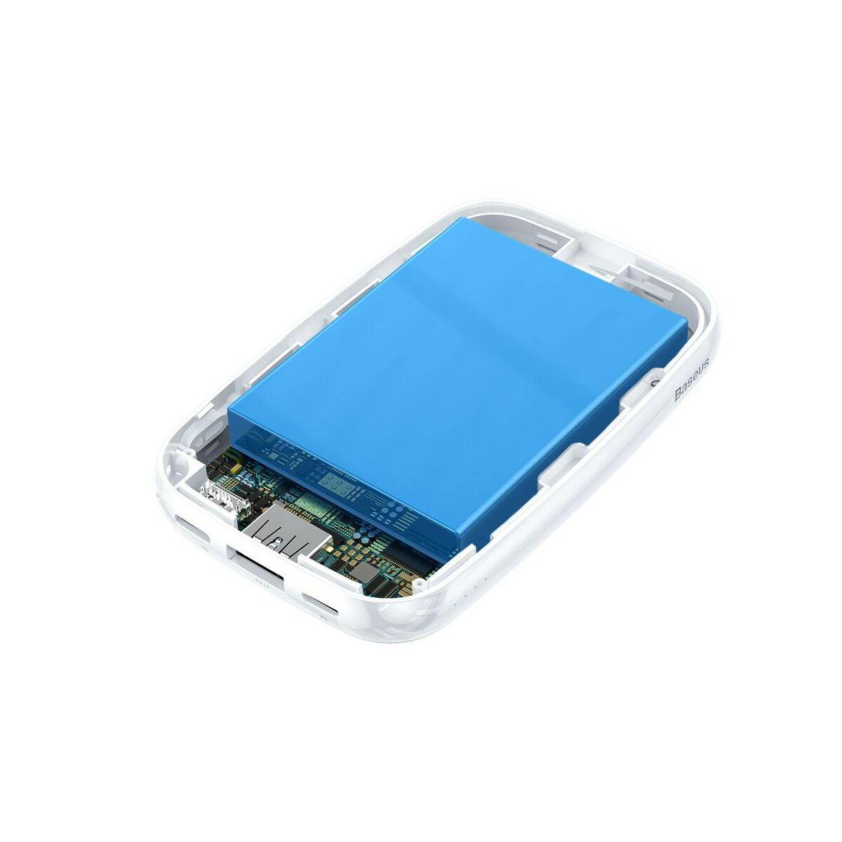 Baseus Power Bank Mini Q, (Micro USB + Type-C bemenet / USB kimenet), 2.1A,10.000 mAh lányos, fehér (PPM25-VH02)