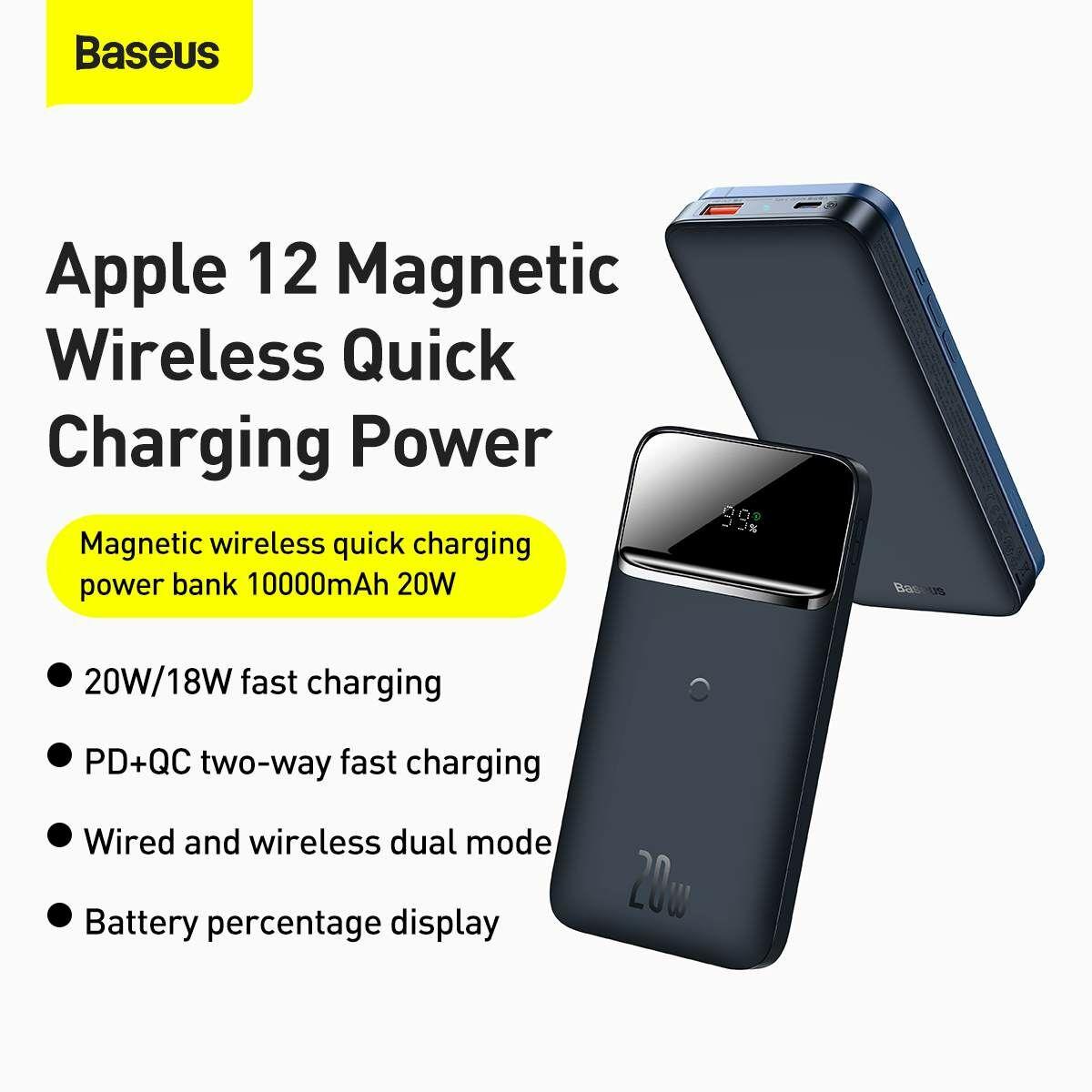 Baseus Power Bank, vezeték nélküli mágneses gyorstöltés, 20W, 10000 mAh, kék (PPMT-03)
