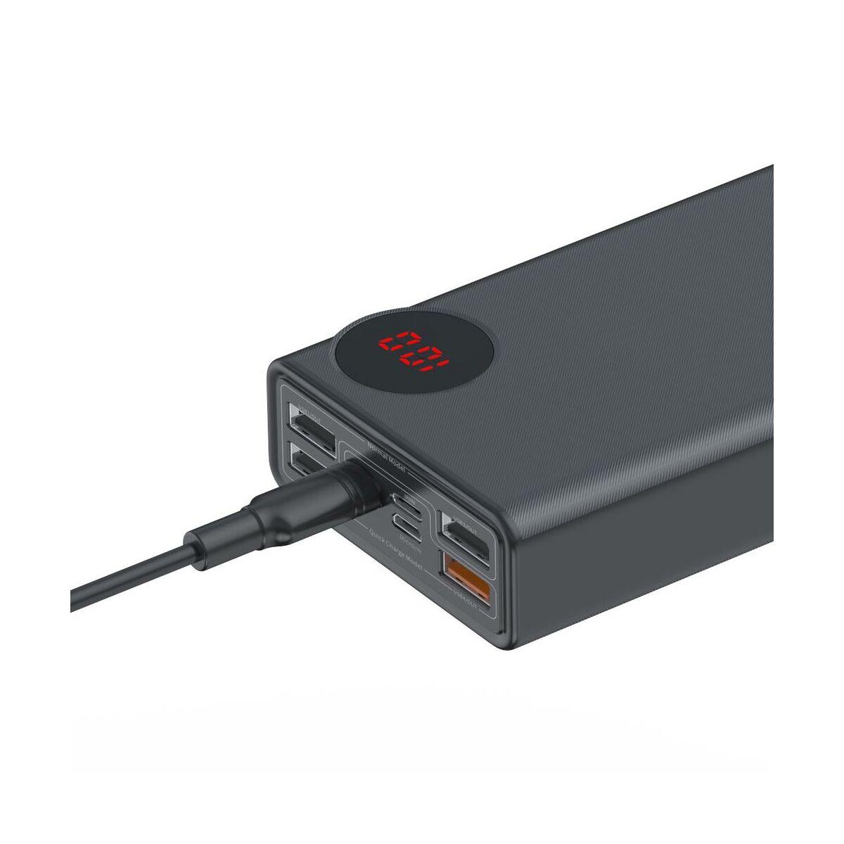 Baseus Power Bank Mulight Quick Charge digitális kijelzővel PD3.0 QC3.0 33W, 30000 mAh, fekete (PPMY-01)