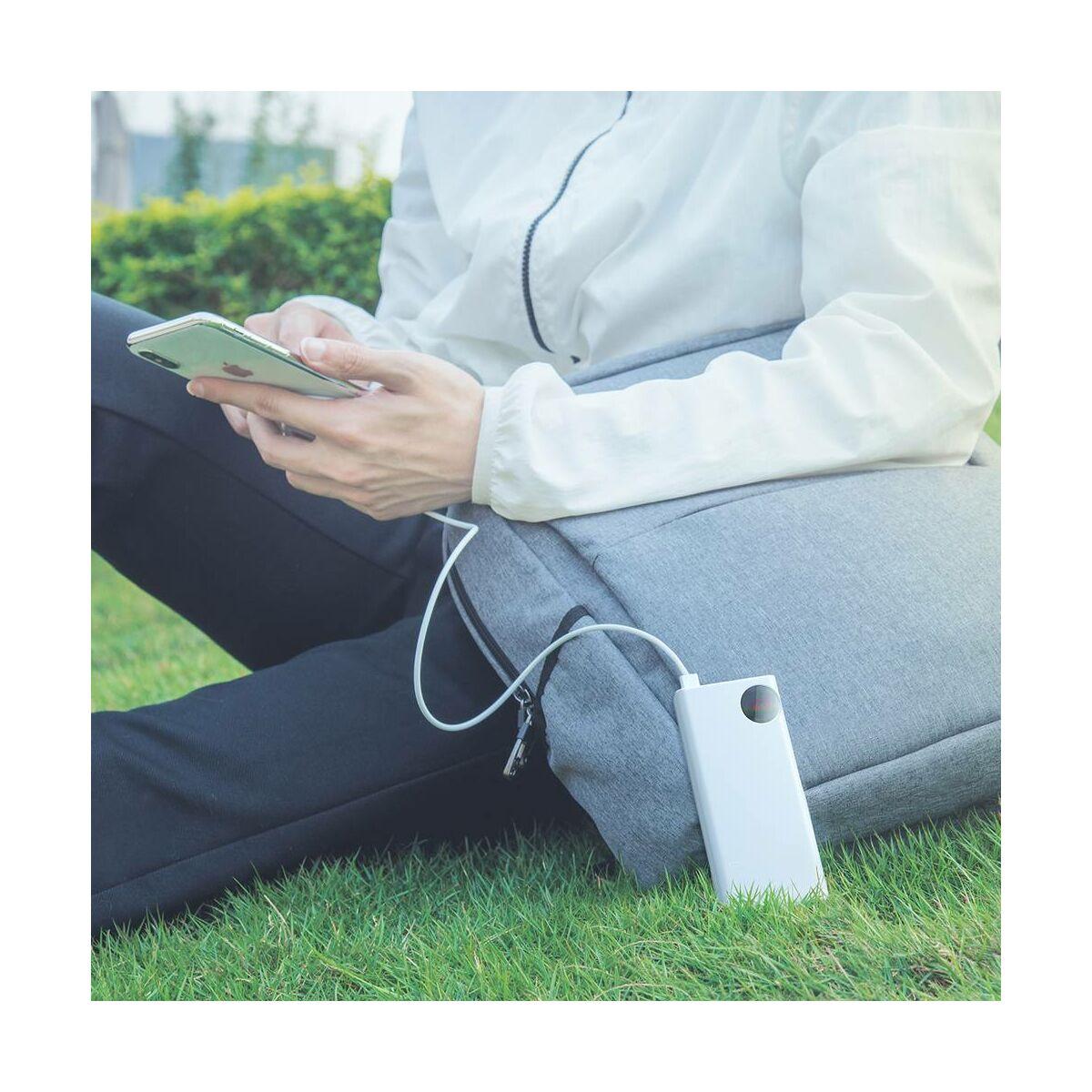 Baseus Power Bank Mulight Quick Charge digitális kijelzővel PD3.0 QC3.0 33W, 30000 mAh, fehér (PPMY-02)