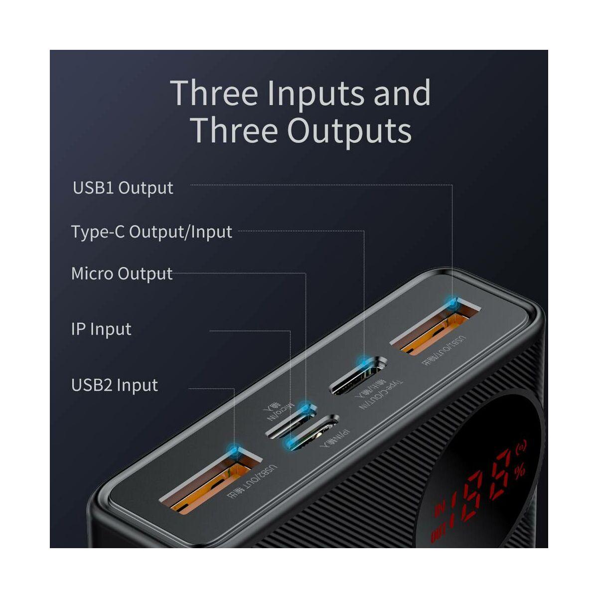 Baseus Power Bank Mulight Quick Charge digitális kijelzővel PD3.0 QC3.0 SCP FCP AFC, 45W, 20000 mAh, fekete (PPMY-A01)