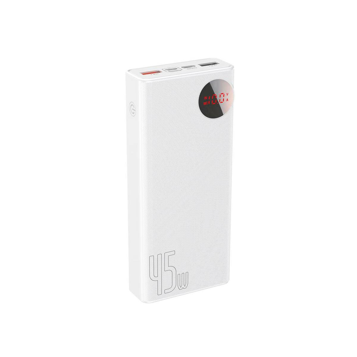 Baseus Power Bank Mulight Quick Charge digitális kijelzővel PD3.0 QC3.0 SCP FCP AFC, 45W, 20000 mAh, fehér (PPMY-A02)