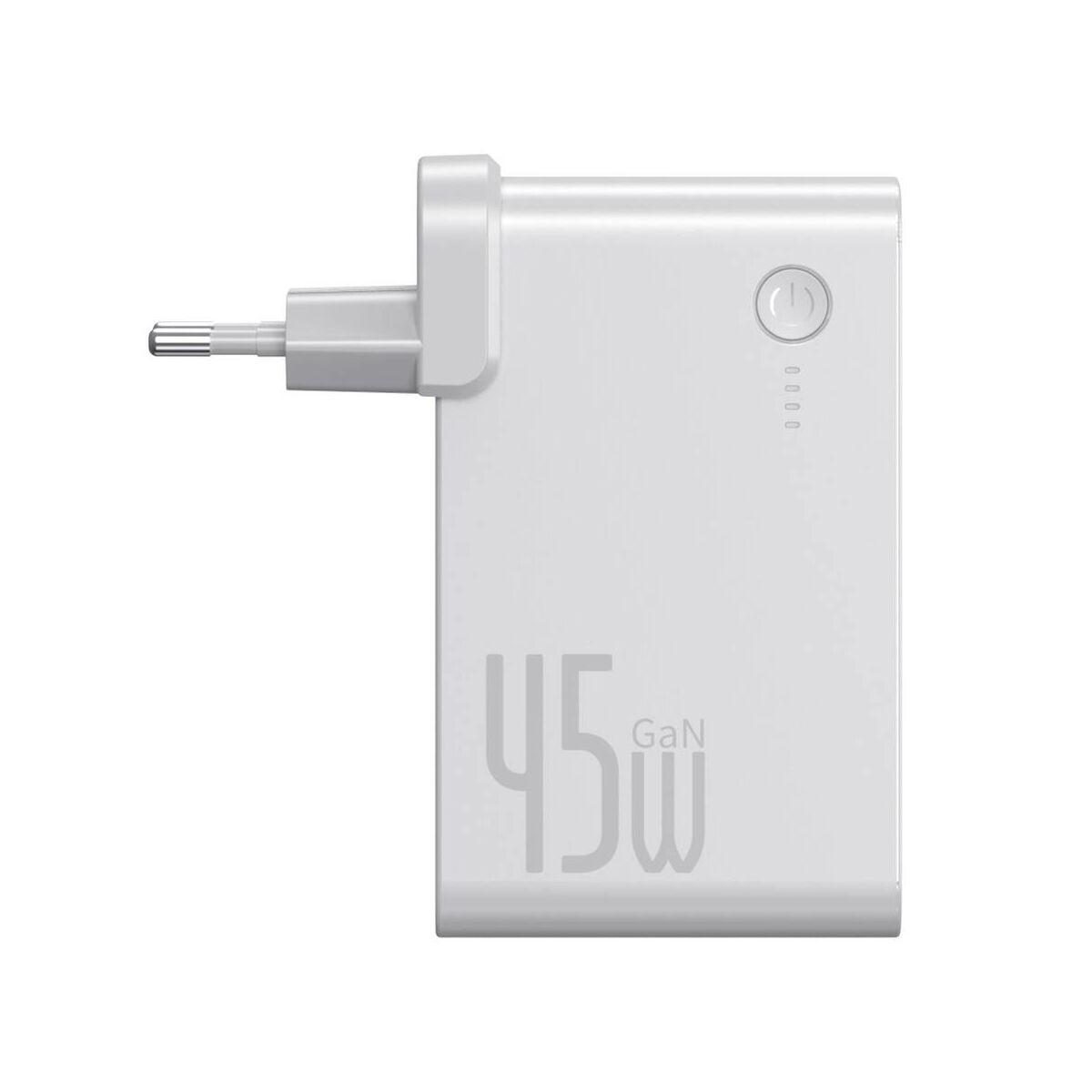 Baseus Power Station, 2-in-1 hálózati töltő és power bank, Type-C + USB-A (Type-C kábel 60 W, 1m) 45W, 10000 mAh, , fehér (PPNLD-C02)
