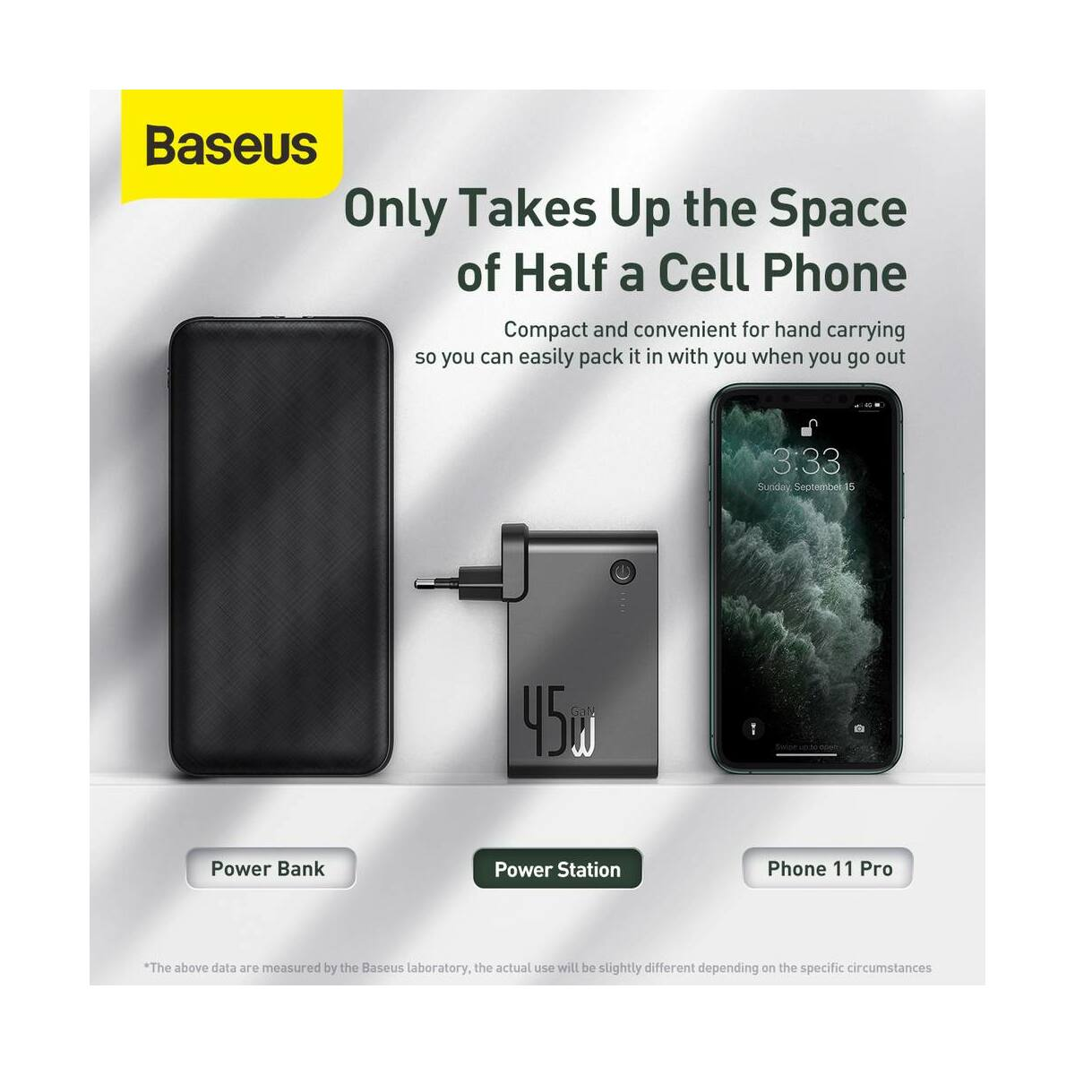 Baseus Power Station, 2-in-1 hálózati adapter és power bank, Type-C ki- és bemenet (Type-C kábel 60 W, 1m) 45W, 10000 mAh, fekete (PPNLD-F01