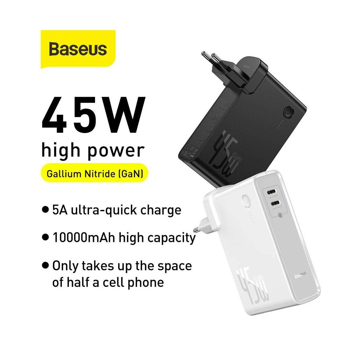 Baseus Power Station, 2-in-1 hálózati adapter és power bank, Type-C ki- és bemenet (Type-C kábel 60 W, 1m) 45W, 10000 mAh, fehér (PPNLD-F02