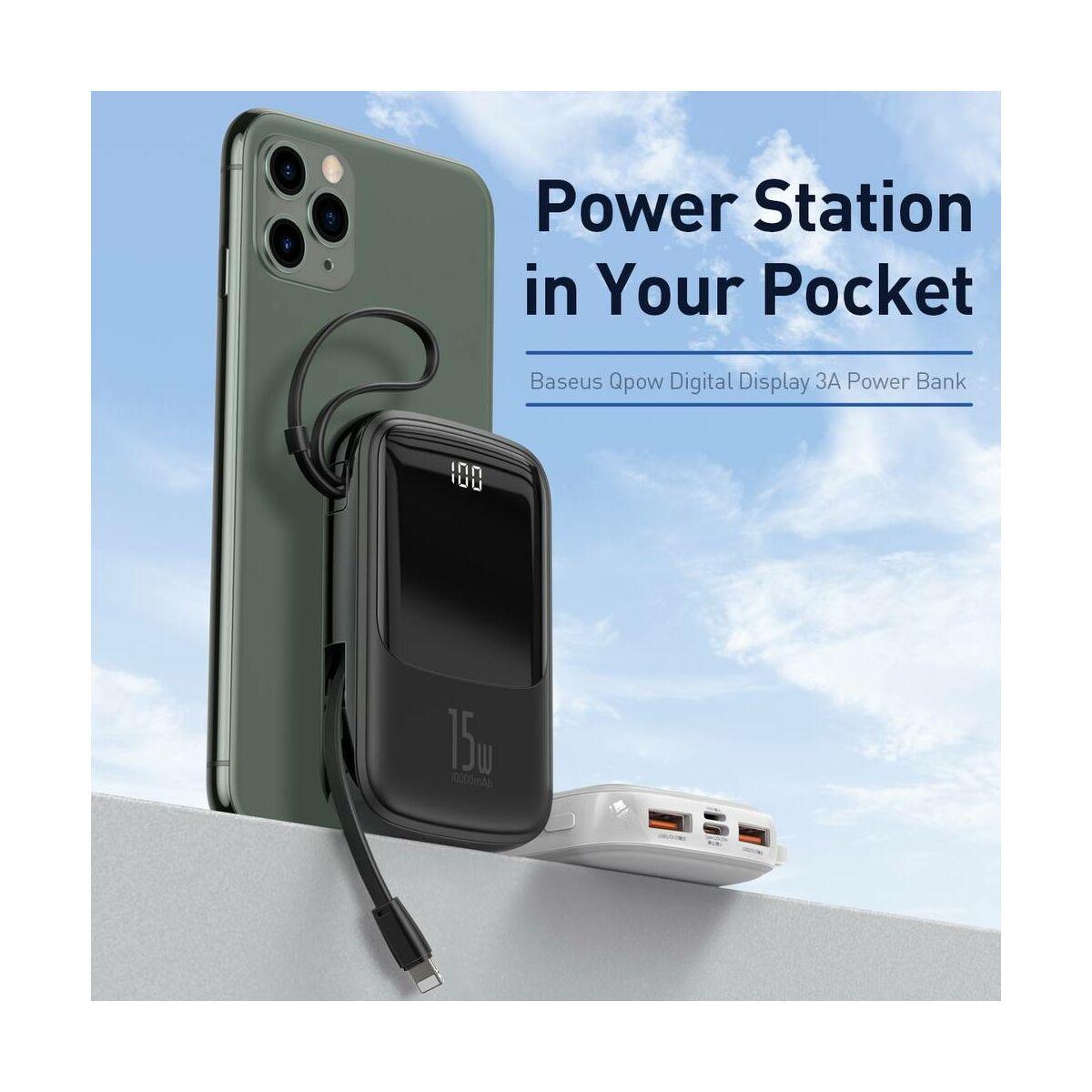 Baseus Power Bank Q pow Digitális kijelző (ajándék Type-C kábellel) 3A, 10000 mAh, fehér (PPQD-A02)