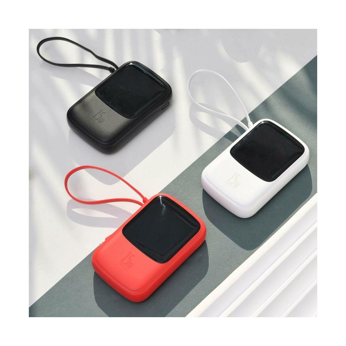 Baseus Power Bank Q pow digitális töltés kijelzés, 2xUSB, Type-C 3A+beépített Lightning kábel, 15W, 10000 mAh, fekete (PPQD-B01)