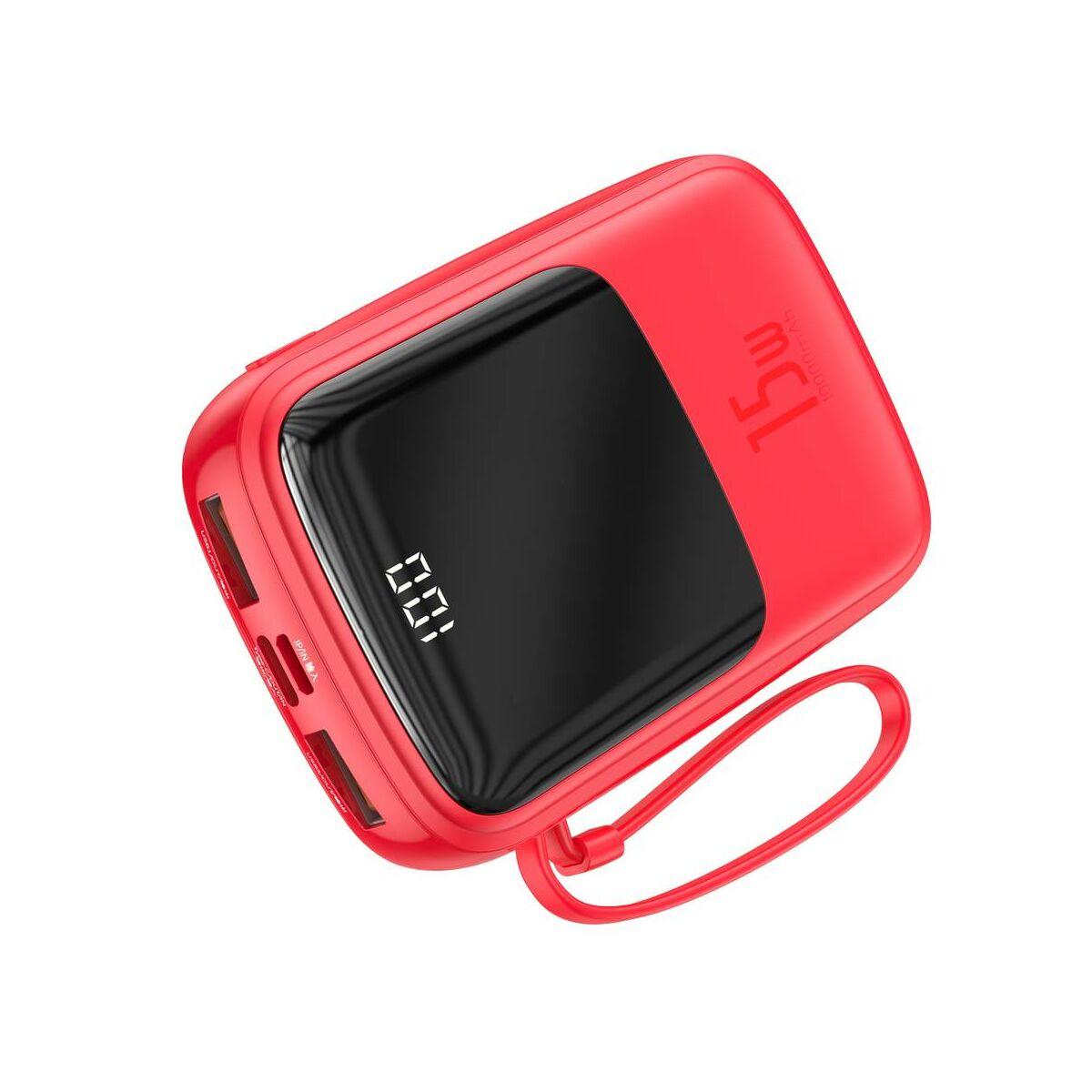 Baseus Power Bank Q pow digitális töltés kijelzés, 2xUSB, Type-C 3A+beépített Lightning kábel, 15W, 10000 mAh, piros (PPQD-B09)